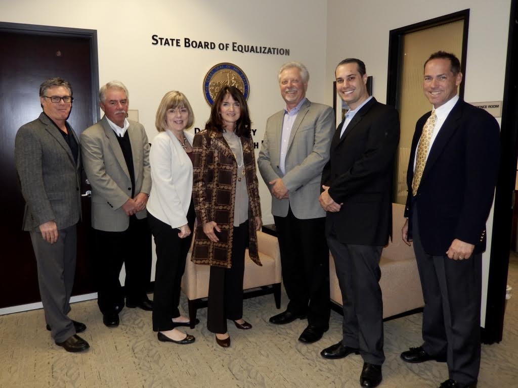 CAVC board meets with Diane Harkey, State Board of Equalization.  Discussing taxation on macro markets.  Left to right, Larry Atnip Atnip Co., Rawn Wanamaker Canteen, Sandy Larson NAMA, Diane Harkey BOE, Pete Tullio Gourmet Coffee Service, Paul Tullio Gourmet Coffee Service, Chip English Continental Vending